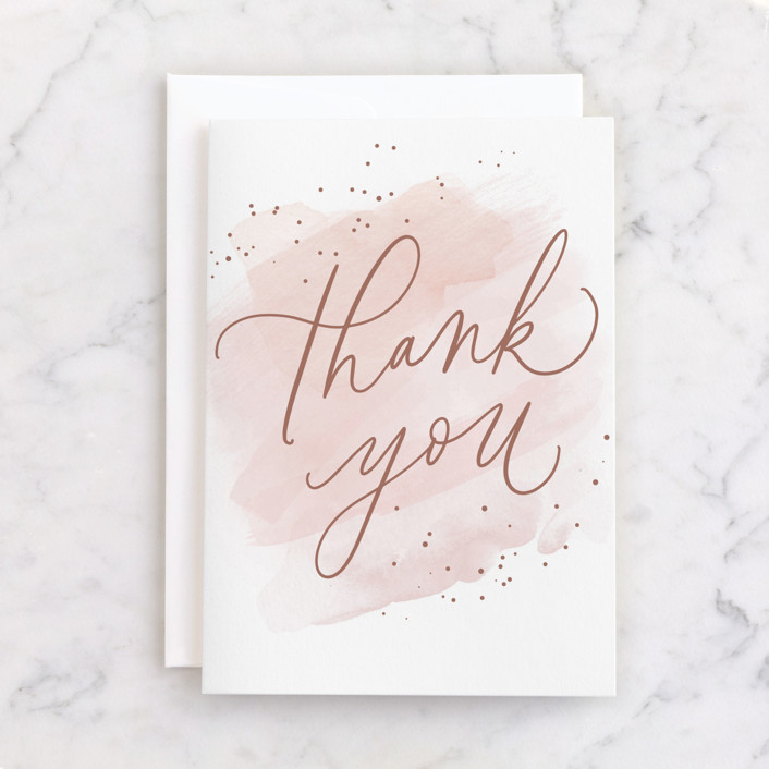 """""""Simple Thanks"""" - Individual Thank You Greeting Cards in Blush by Everett Paper Goods."""