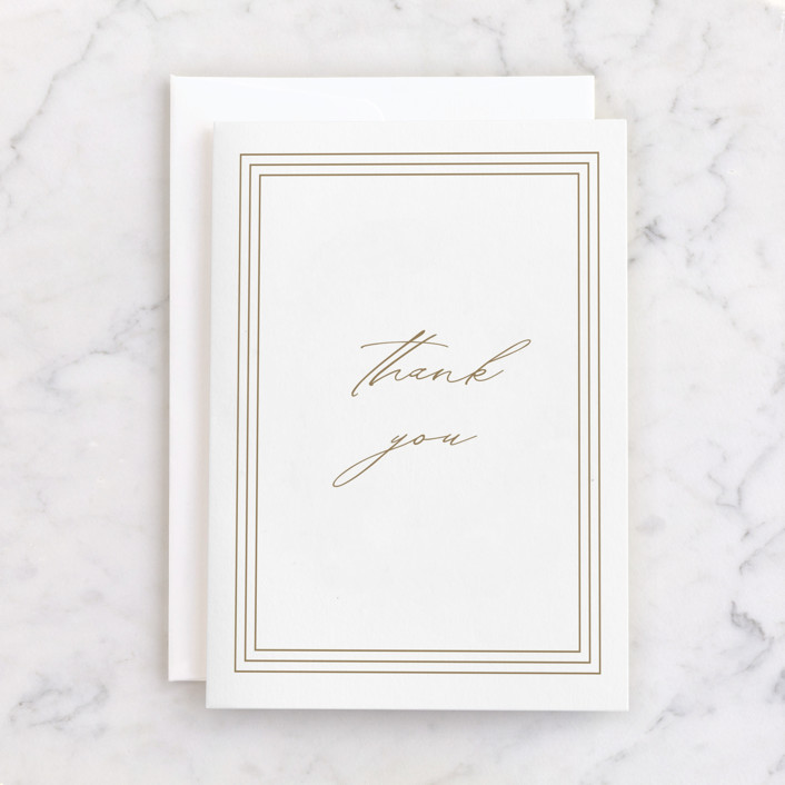 """""""Regent Edge"""" - Individual Thank You Greeting Cards in Cream by Amy Kross."""