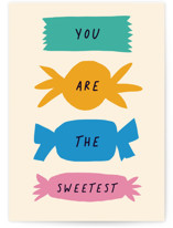 This is a beige greeting card by Alexandra Dzh called The Sweetest with standard printing on signature in greeting cards.