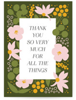 This is a green greeting card by Genna Blackburn called All the Things with standard printing on signature in greeting cards.