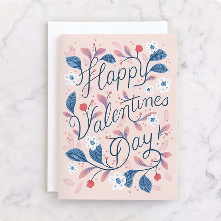"""""""Little Bloom"""" - Individual Valentine's Day Greeting Cards in Rose by Paper Raven Co.."""