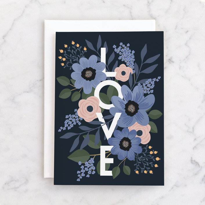 """""""Blue Field"""" - Individual Valentine's Day Greeting Cards in Navy by Vera Lim."""