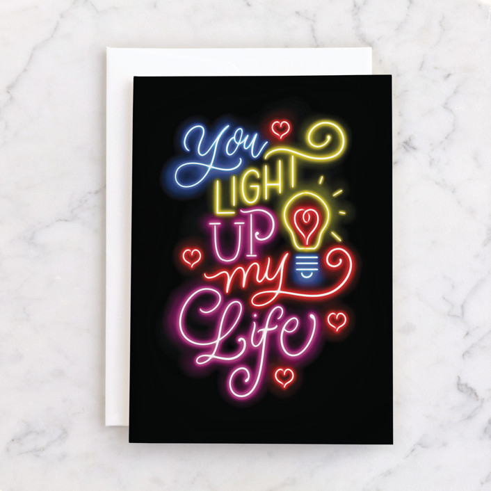 """Up In Lights"" - Individual Valentine's Day Greeting Cards in Neons by Laura Bolter."