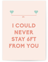 This is a pink valentines day card by Anne Hill called Social Distance Valentine with standard printing on signature in greeting cards.