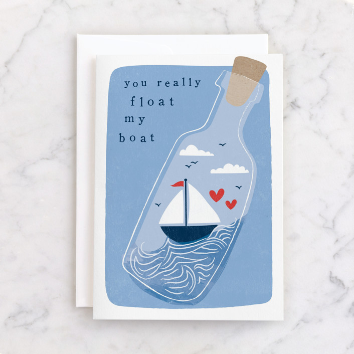 """""""floating boat"""" - Individual Valentine's Day Greeting Cards in Sea by Karidy Walker."""