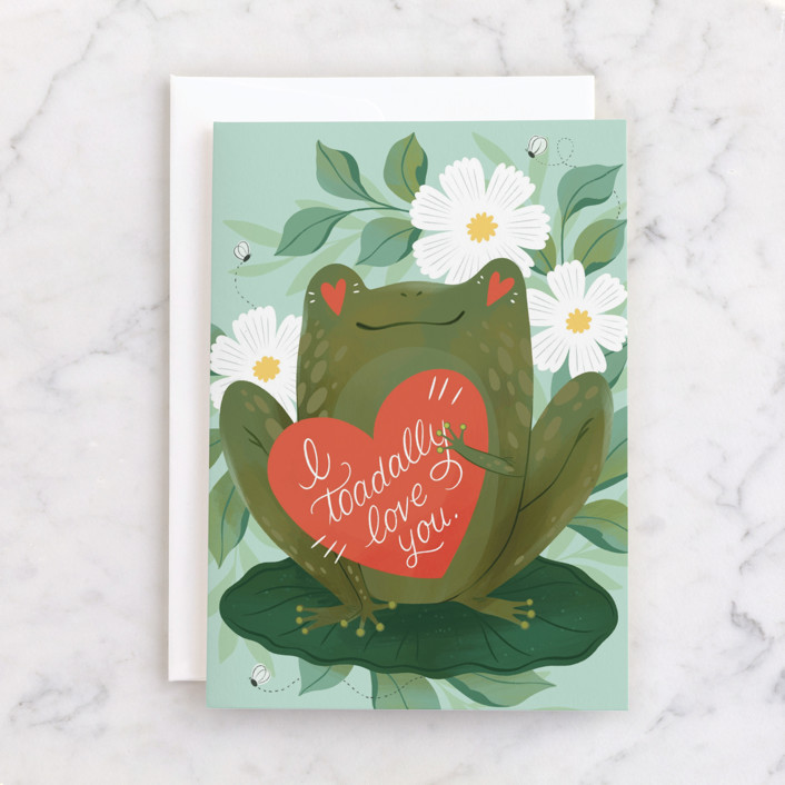 """""""Toadally Love You"""" - Individual Valentine's Day Greeting Cards in Toad by Paper Raven Co.."""