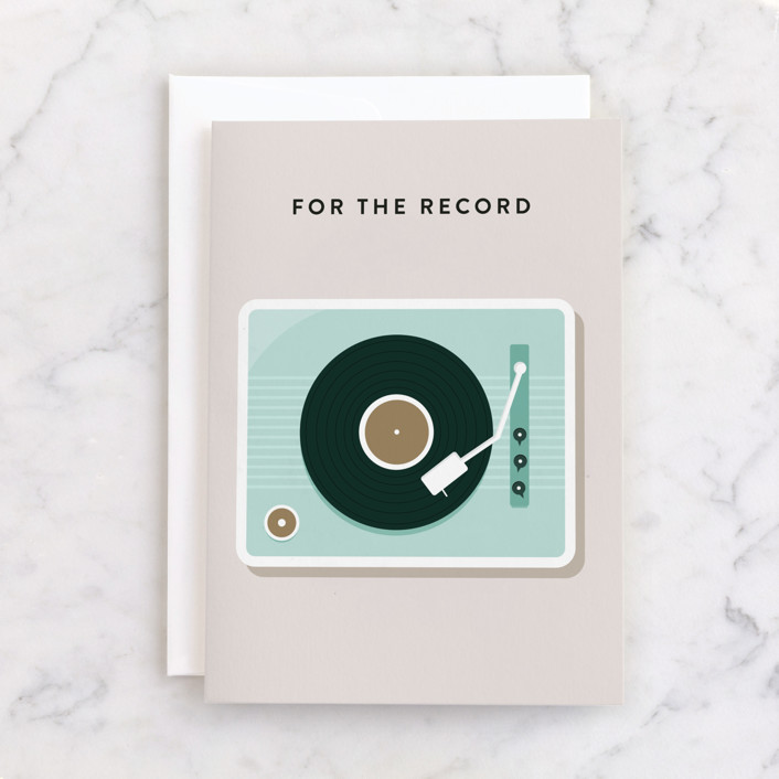 """For the Record"" - Individual Valentine's Day Greeting Cards in Natural by Christie Garcia."