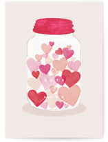 This is a pink valentines day card by Creo Study called Jar of hearts with standard printing on signature in greeting cards.