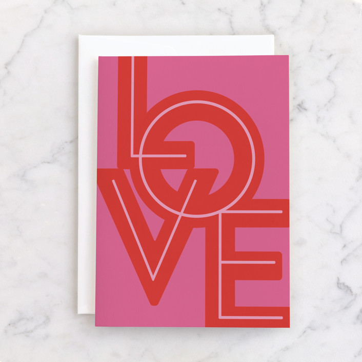 """Bold Gilded Love"" - Individual Valentine's Day Greeting Cards in Bubblegum by Nazia Hyder."