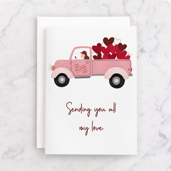 """""""Delivery"""" - Individual Valentine's Day Greeting Cards in Cherry by Juliana Zimmermann."""