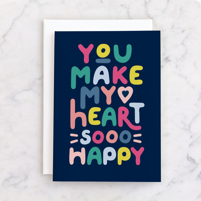 """""""colorful happy heart"""" - Individual Valentine's Day Greeting Cards in Navy by Karidy Walker."""