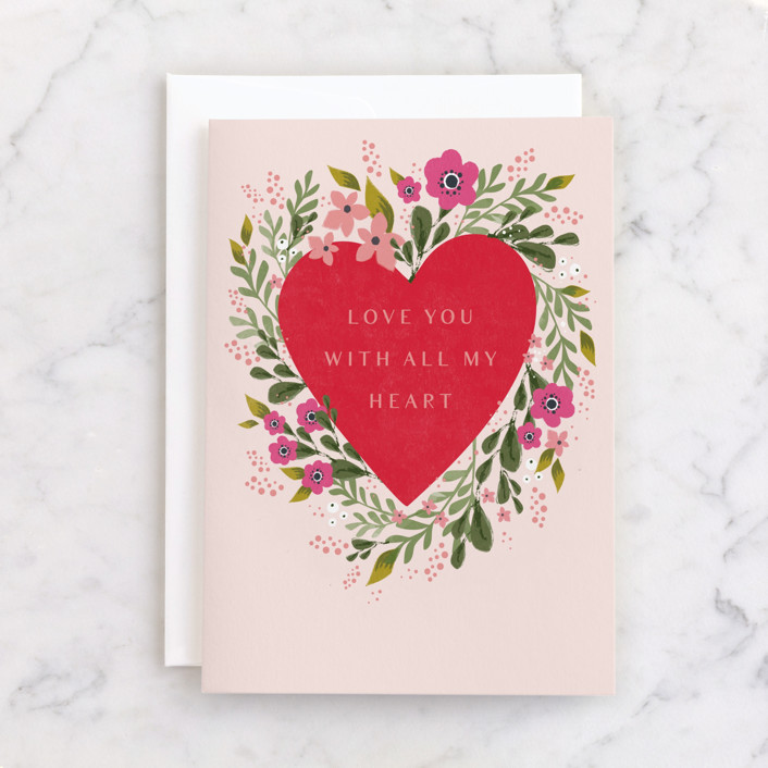 """""""With All My Heart"""" - Individual Valentine's Day Greeting Cards in Bubblegum by Karidy Walker."""
