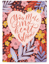 This is a pink valentines day card by Anastasia Makarova called blooming heart with standard printing on signature in greeting cards.