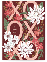 This is a red greeting card by Alethea and Ruth called XOXO I Love you with standard printing on signature in greeting cards.