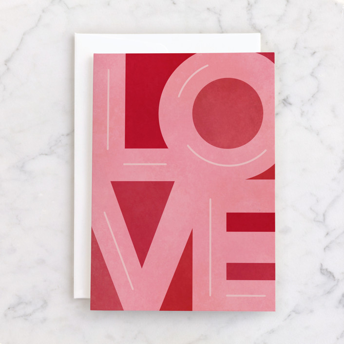 """extra love"" - Individual Valentine's Day Greeting Cards in Strawberry by Michelle Taylor."