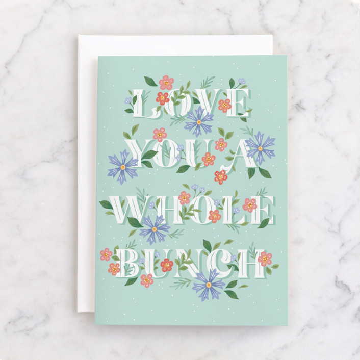 """A Whole Bunch"" - Individual Valentine's Day Greeting Cards in Seafoam by Paper Raven Co.."