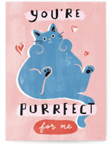 This is a pink valentines day card by Cindy Chu called You're Purrfect with standard printing on signature in greeting cards.