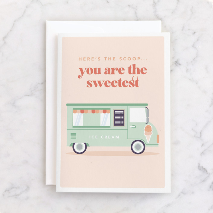 """""""Here's The Scoop"""" - Individual Valentine's Day Greeting Cards in Bubblegum by Caitlin Considine."""