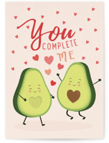 This is a pink greeting card by Sabrin Deirani called Avocado love with standard printing on signature in greeting cards.