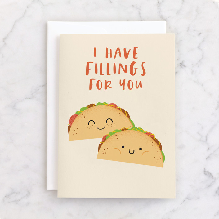"""""""Fillings for you"""" - Individual Valentine's Day Greeting Cards in Almond by Annie Holmquist."""