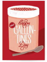 This is a red valentines day card by Erin L. Wilson called Break out the Spoon with standard printing on signature in greeting cards.