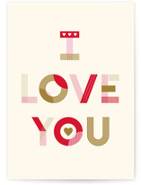 This is a beige greeting card by Kiersten Garner called Typographic Love with standard printing on signature in greeting cards.