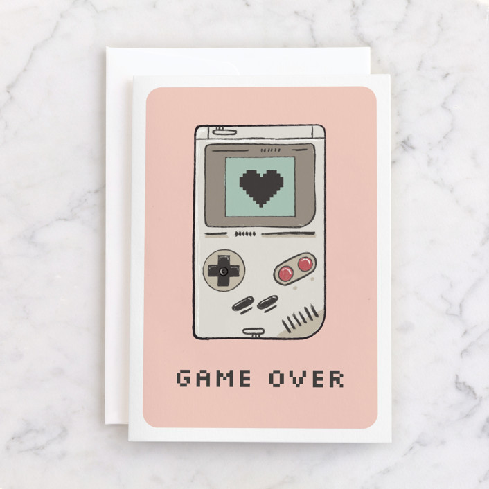 """Game over"" - Individual Valentine's Day Greeting Cards in Bubblegum by Juliana Zimmermann."