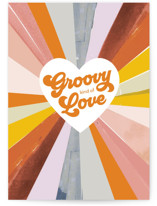 This is a colorful greeting card by Baumbirdy called Groovy Kind of Love with standard printing on signature in greeting cards.