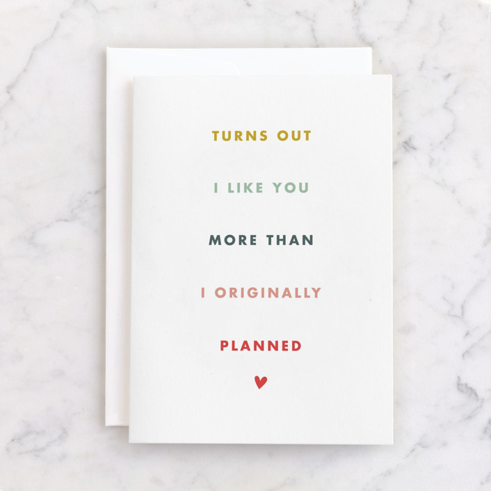 """""""More than planned"""" - Individual Valentine's Day Greeting Cards in Snow by Stacey Meacham."""