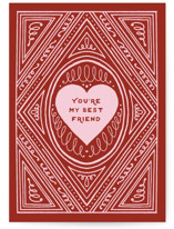 This is a red greeting card by Katharine Watson called Best Friend Heart with standard printing on signature in greeting cards.