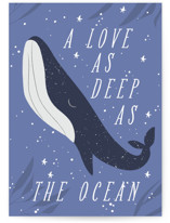 This is a purple valentines day card by Angela Thompson called as deep as the ocean with standard printing on signature in greeting cards.