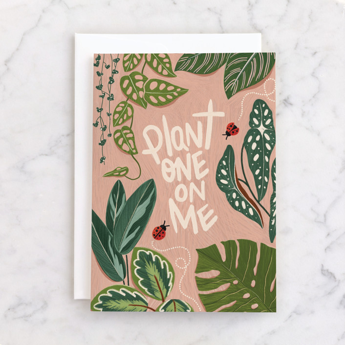 """Plant One On Me"" - Individual Valentine's Day Greeting Cards in Latte by Vivian Yiwing."