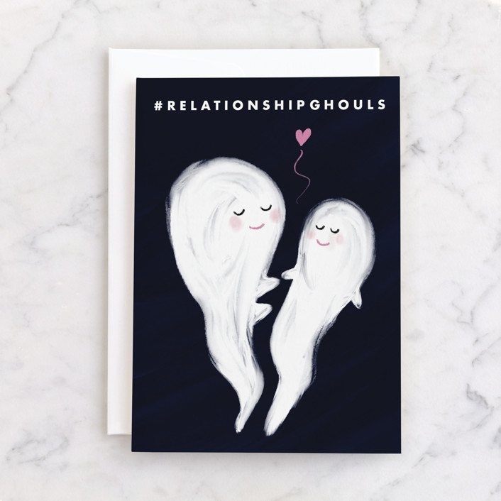 """""""Hashtag Relationship Ghouls"""" - Individual Valentine's Day Greeting Cards in Navy by Catherine Culvenor."""