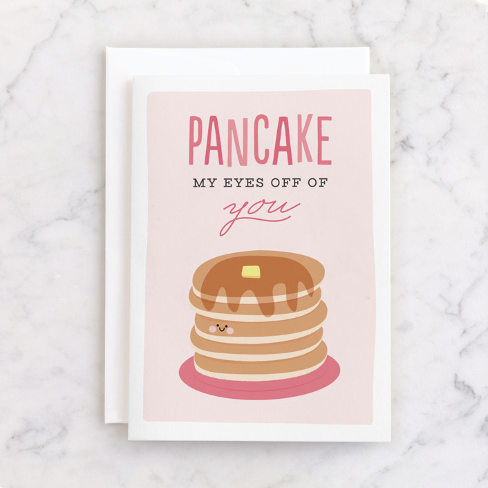 """""""Pancake"""" - Individual Valentine's Day Greeting Cards in Bubblegum by Jen Banks of Ink and Letter."""