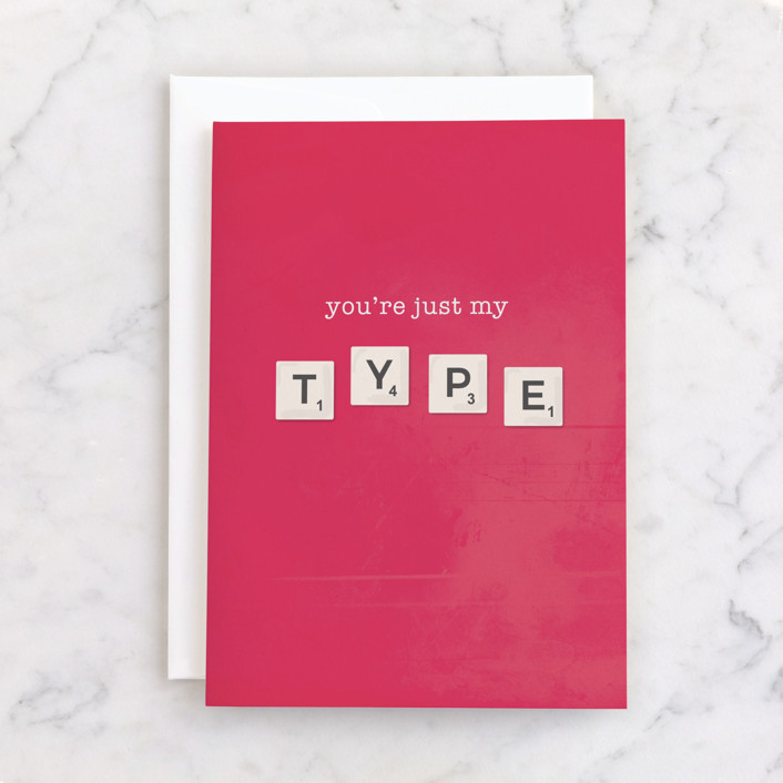 """""""My Type"""" - Individual Valentine's Day Greeting Cards in Grapefruit by Vera Lim."""