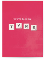 This is a pink greeting card by Vera Lim called My Type with standard printing on signature in greeting cards.