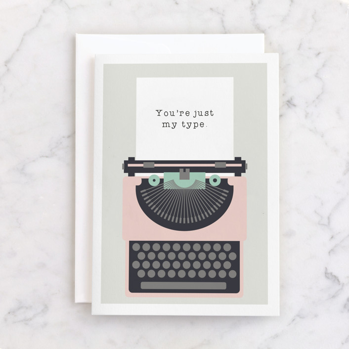 """Typed Love Note"" - Individual Valentine's Day Greeting Cards in Blush by Caitlin Considine."