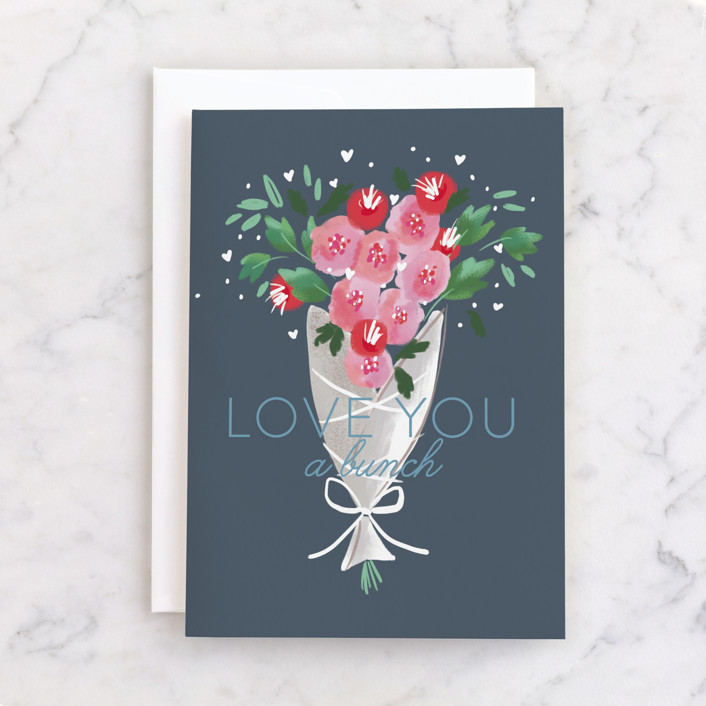 """""""a bunch"""" - Individual Valentine's Day Greeting Cards in Navy by Rebecca Durflinger."""