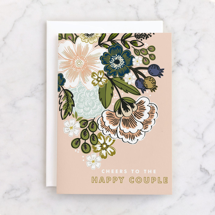 """""""Flower Bouquet"""" - Individual Wedding Greeting Cards in Blush by Alethea and Ruth."""