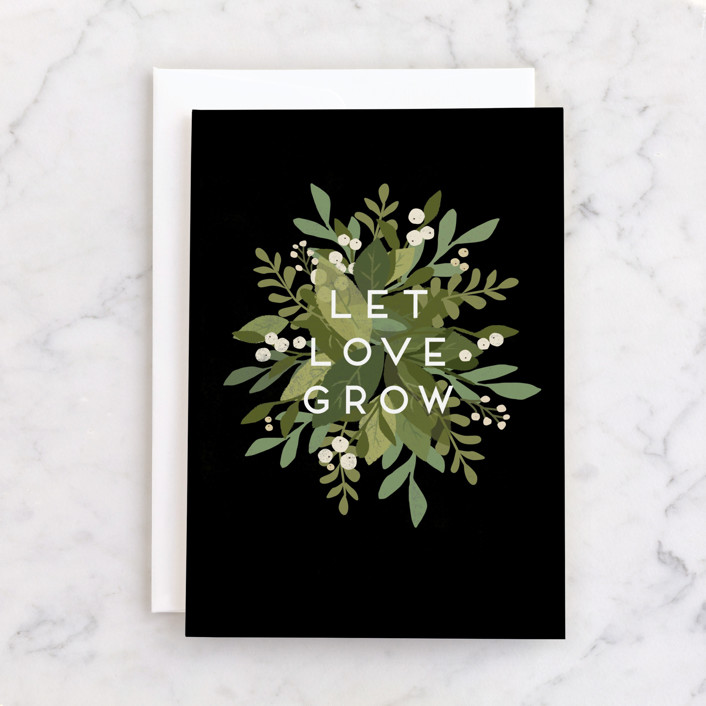 """""""Laurel of Greens"""" - Individual Wedding Greeting Cards in Leaf by Jennifer Wick."""