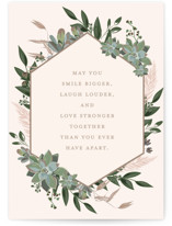 This is a pink wedding card by Susan Moyal called Succulent Surround with standard printing on signature in greeting cards.