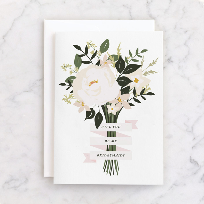 """Bridesmaid Bouquet"" - Individual Wedding Greeting Cards in Cream by Haley Warner."