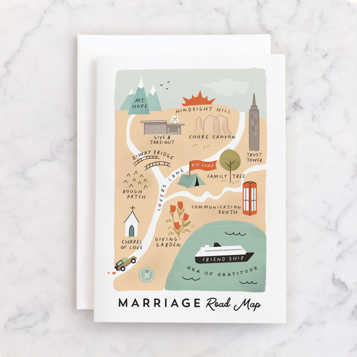 """""""Marriage Road Map"""" - Individual Wedding Greeting Cards in Coral by Calico Hill Creative."""