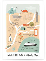 This is a orange wedding card by Calico Hill Creative called Marriage Road Map with standard printing on signature in greeting cards.