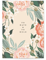 This is a pink wedding card by Alethea and Ruth called To Have and To Hold with standard printing on signature in greeting cards.