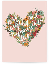 This is a pink wedding card by Bekah Beckman called Love and Laughter with standard printing on signature in greeting cards.