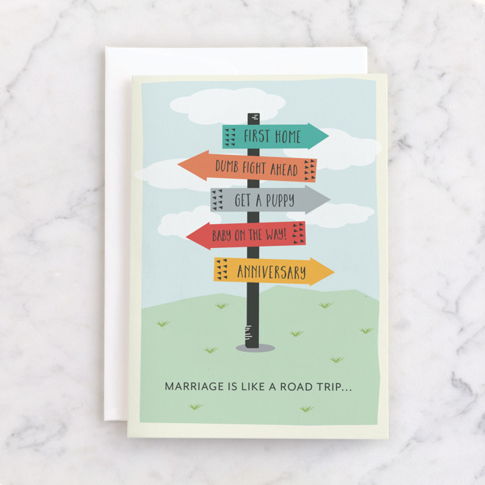 """""""Marriage is a road trip"""" - Individual Wedding Greeting Cards in Grass by Leah Ragain."""
