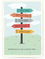 This is a green wedding card by Leah Ragain called Marriage is a road trip with standard printing on signature in greeting cards.