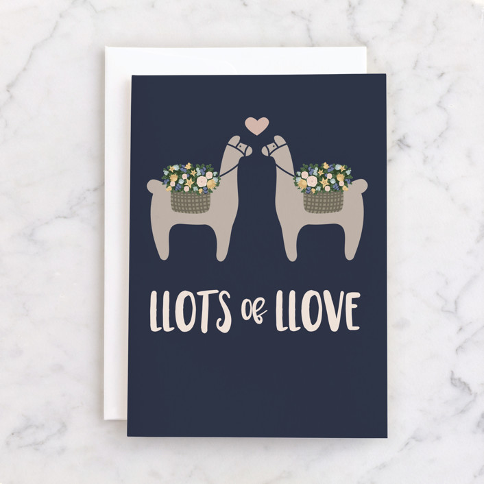 """""""Llove of my Llife"""" - Individual Wedding Greeting Cards in Navy by Julia Rush."""
