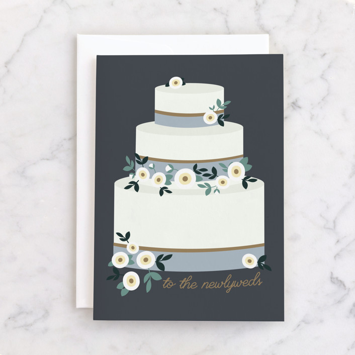 """""""To the newlyweds"""" - Individual Wedding Greeting Cards in Navy by Caitlin Considine."""